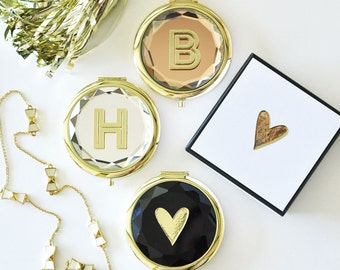 Personalized Monogram Compact Mirrors- Bridesmaids Gifts - Bridal Party Gifts - Maid of Honor - Wedding Favors