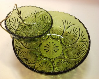 Vintage Green Glass Chip & Dip Set