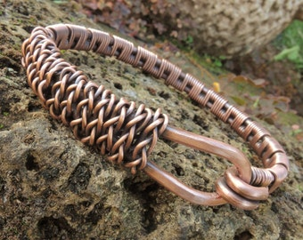 Rustic Copper Bracelet - Wire wrapped  copper bracelet - Copper wire braided bracelet - Bangle bracelet - Kupferarmband