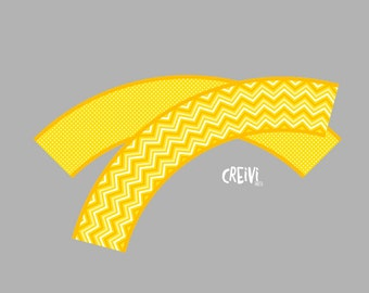 Instant Download Yellow Chevron, Polka dots baby shower, Cupcake wrappers, DIY, Printable ( EL017)