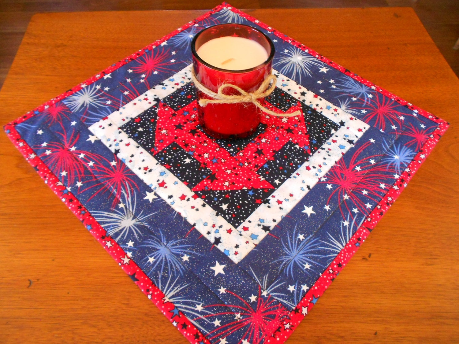Free Patterns For Quilted Candle Mats : Quilted Candle Mat/Small Quilt Red WhiteBlue Stars Churn