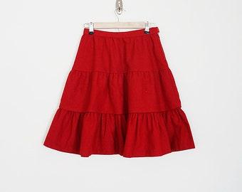 Vintage 70s high waist tiered wool skirt // Size XS