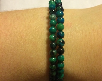 Multi colored green beaded bracelet
