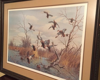 Harry C Adamson framed and signed duck print - 1976