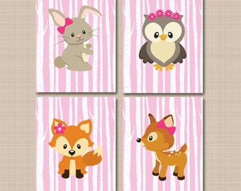 Woodland Nursery Wall Art Woodland Girl Pink Decor Girl Animals Baby Room Pink Woodland Wall Art Bear Fox Owl Bunny Shower- UNFRAMED  4 C324