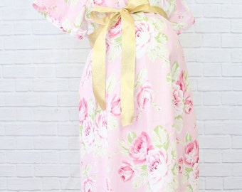 Shabby Chic Roses | Pink Floral Maternity Hospital Gown | Labor & Delivery Gown