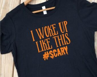 Funny Halloween Shirt, Haloween Costume, Trick or Treat Shirt, Costume tshirt, Halloween Party, Orange and Black, Fall tshirt, Scary