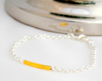Gold Bar Bracelet - Friendship bracelet - Silver chain Bracelet