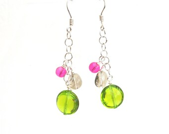 Lime Green Lampglass Murano Earrings with Smokey Quartz Nugget and Bright Pink Bead Earrings
