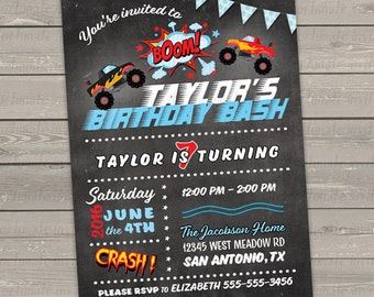 monster truck invitation, birthday invitation, birthday party invitation monster jam birthday monster truck party digital or printed invites