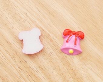 Jingle Bells (Pink) 24mm x 26mm Flatback Cabochon Resin Deco Embellishments Scrapbooking Craft DIY Christmas - 1/5/20pcs