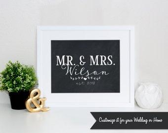 MR. & MRS. est. 2016 Custom Sign 8x10 Instant Download Wedding Print DIY Bride