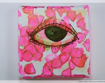 Right now in pink - acrylic on canvas - original mini artwork 10 x 10 cm image with eye green pink white