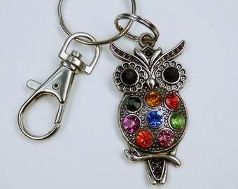 OWL - large, silver OWL - Keychain, bag charms, colorful owls OWL with Strass stones stained jewelry pendant
