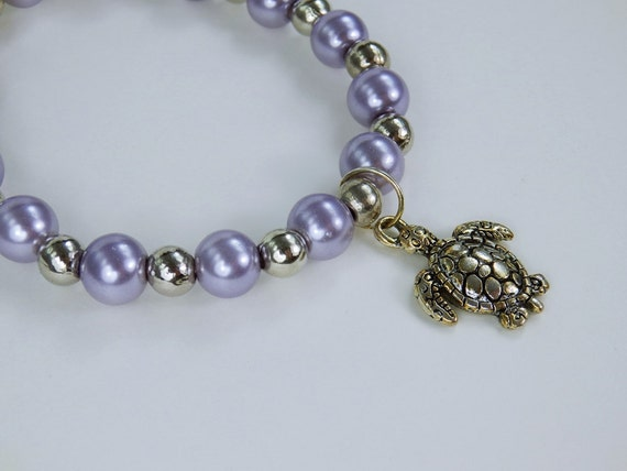 Bracelet, silver sea turtle pearl bracelet Maitimes motif in light purple and Silver turtle Turtle Water Turtle