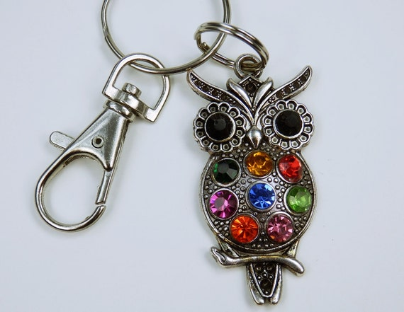 Owl-Large, silver-colored owl-keychain, bag pendant colourful, colourful owl owls with rhinestones colored jewelry Pendant