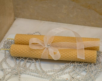 100% Beeswax Hand-Rolled Taper Candles