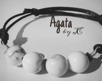 Leather bracelet with stones