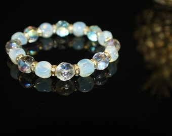 Moonstone and Clear Crystal Beads Handcrafted Stretch Bracelet