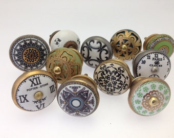 Set Of 11 Vintage Style Shabby Chic Moroccan Green Black And Gold Ceramic Cupboard Knobs