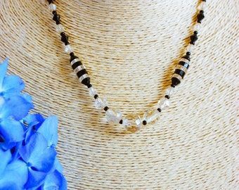 Necklace, vintage necklace, 1950 necklace, black and clear crystal necklace