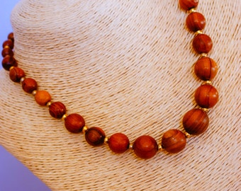 Necklace, vintage necklace, 1950's necklace, wooden bead necklace