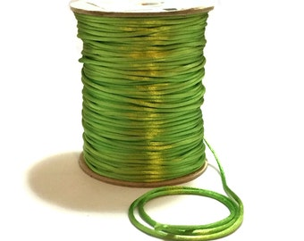 Green Satin Cording / 3mm Green Cording / 3mm Green Rattail / Apple Green Cording / 10 FEET