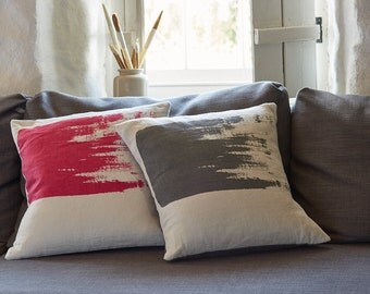 Bright pink cushion pillow // Handmade screen printed cushion throw pillow in magenta on natural linen fabric