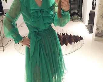 Gorgeous Emerald Green chiffon ruffle 70s dress S/M