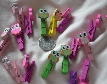 pack of ten patterned owl mini paper holder / clip/ cloth peg
