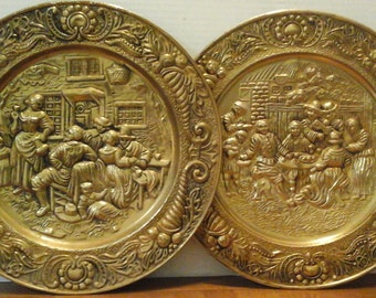 """14"""" Brass Plates, Vintage Decorative Wall Hanging Plates, Made in England, Scenes of Family, Pub, Eating and Drinking"""