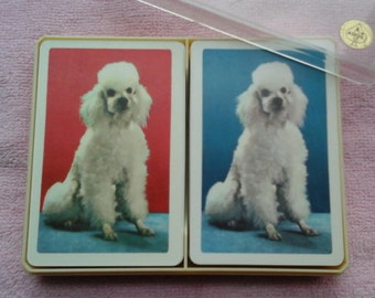 Poodle Playing Cards, Astor all Plastic Playing Cards, Two Decks in Plastic Case, Two Jokers for each Set