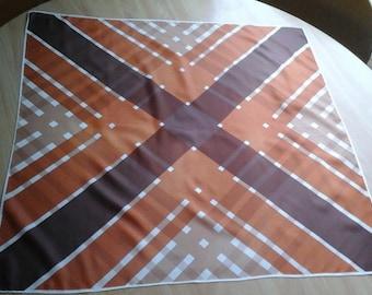 70s Acetate Scarf, Glentex, made in Japan, Browns Scarf, Burnt Orange Scarf