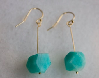 Rough Cut Amazonite and 14k Gold Fill Earrings