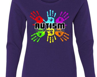 Support Educate Advocate Autism Handprint Womens Long Sleeve T-Shirt