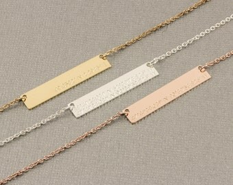 Custom  Coordinates Necklace, Rose Gold Bar Necklace, Coordinate Jewelry, silver bar necklace, gold filled necklace