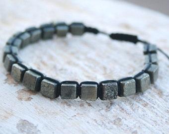 Men Beaded bracelet, Pyrite Bracelet, Men Woven Bracelet, Men Braided Bracelet, Hipster Bracelet,  Fools Gold Bracelet, Zen Jewelry, boho