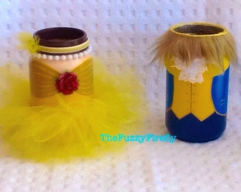 Set of Beauty and Beast Inspired Centerpiece,Princess Party,Princess Baby Shower Decor,Princess Mason Jar Centerpiece,Princess Tutu