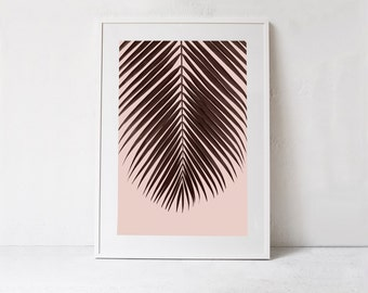 Blush Pink Art Print, Palm Leaf Poster Print, Tropical Leaf Printable Art, Blush Pink Wall Decor Print, Blush Pink Wall Art INSTANT DOWNLOAD
