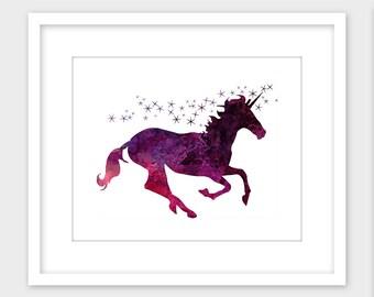 Unicorn Printable Art, Unicorn Wall Art Print, Girls Room Decor Instant Digital Download