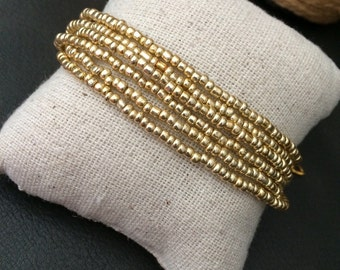 Gold beaded bracelet, gold multistrand, boho bracelet, gold cuff bracelet, gold bracelet, bridesmaids bracelet, gold bridal party, nautical