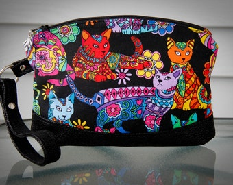 Colourful Cat Clutch / Wristlet