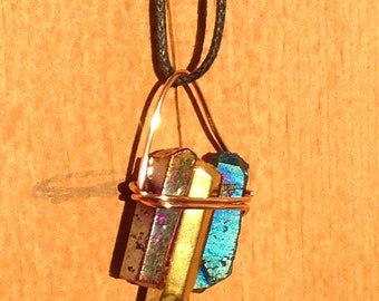 Triple Crystal Wrapped Wire Pendant