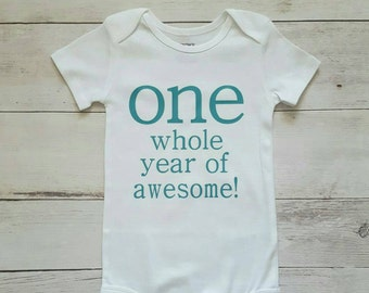 One whole Year Of Awesome - First Birthday Boy - Custom Birthday shirt - First Birthday Outfit - Boy First Birthday Shirt  - Stylish kid Tee
