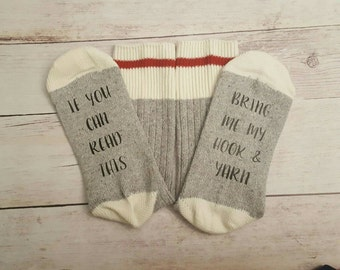Wine Socks - Bring me a Glass of Wine Socks - If you can read this socks - Rum Socks - Leave Mama alone - Crochet novelty sock - Beer socks