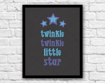 Twinkle Twinkle Little Star, Printable Wall Art, Nursery Wall Art, Nursery Rhyme, Blue