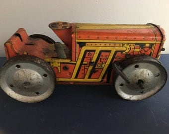Antique Toy, Antique Wind Up Yoy Tractor, Antique Toy Tractor, Whatnots, Rustic Decor