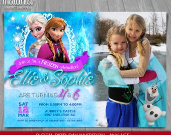 Frozen Birthday Invitation - Elsa Anna Invitation Printable - Disney Frozen Invitation - Frozen Party Invite Elsa Anna Olaf with photo