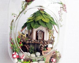 Fairy House, Tree House, Terrarium DIY Kit Set, Elf Gnome House in Glass Jar, Fairy Garden,Enchanted Forest Decoration Home Decor