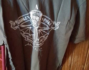Frankenstein chop shop motorcycle shop trademarked tshirts A broken spoke asheville nc